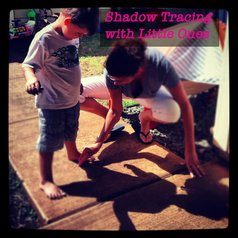 tracing shadows in the sunshine with little ones as a craft project or art activity
