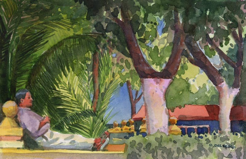 A watercolor of a man napping under palms and trees with their trunks painted white