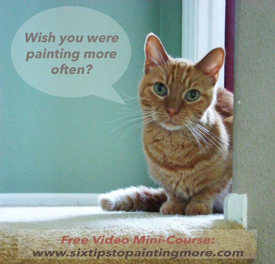 A little red tabby cat asking if you'd like to make art more often