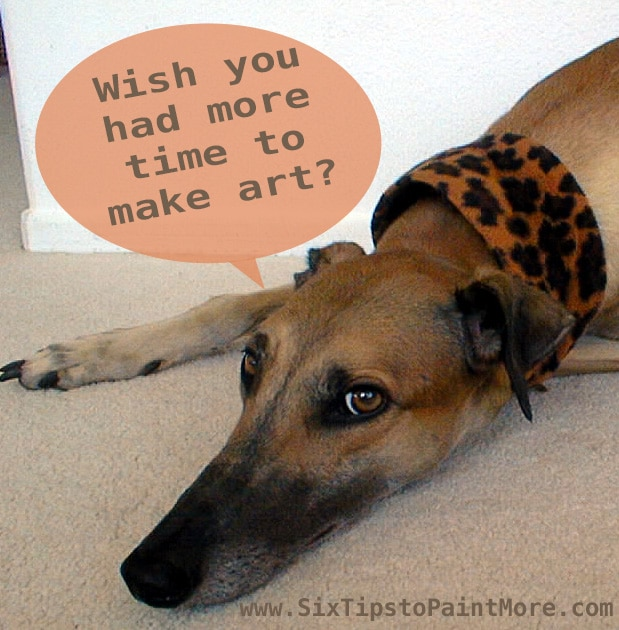 a greyhound dog resting on a carpet with a leopard skin collar and a speech bubble asking if you wish you had more time for art