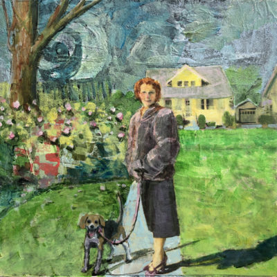 A woman wearing a fur coat and a pencil skirt walking her beagle dog in a green neighborhood