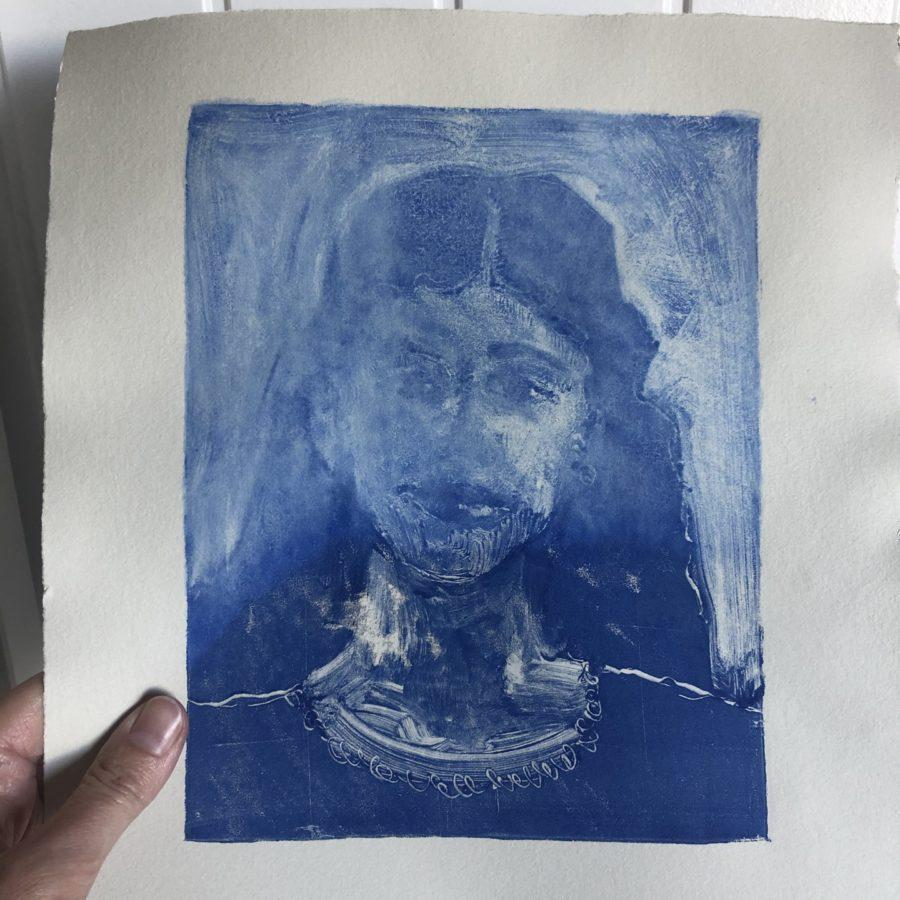 a monotype print portrait ruined by using the wrong paper