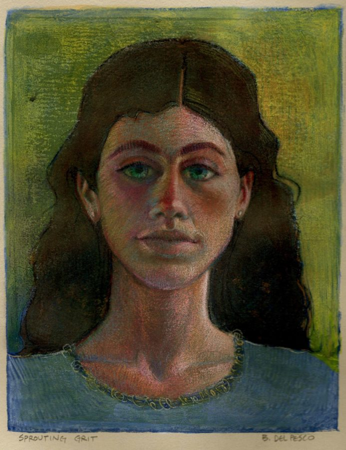 a monotype portrait of an adolescent girl