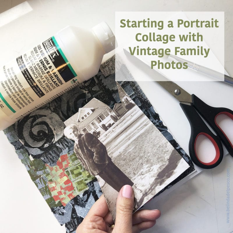 Create Collage ideas start here with vintage family photos printed on plain printer paper, and trimmed with scissors to leave room for added figures.