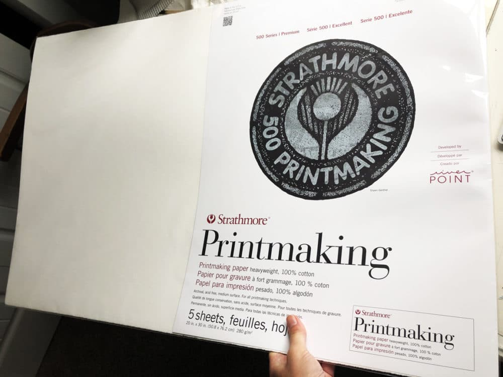 a large format printmaking paper made by Strathmore in a five-sheet parcel