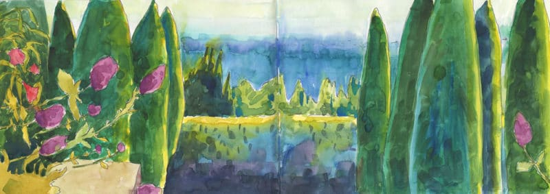 watercolor sketchbook opened to a double spread watercolor study of cypress trees, pink flowers and a garden view beyond