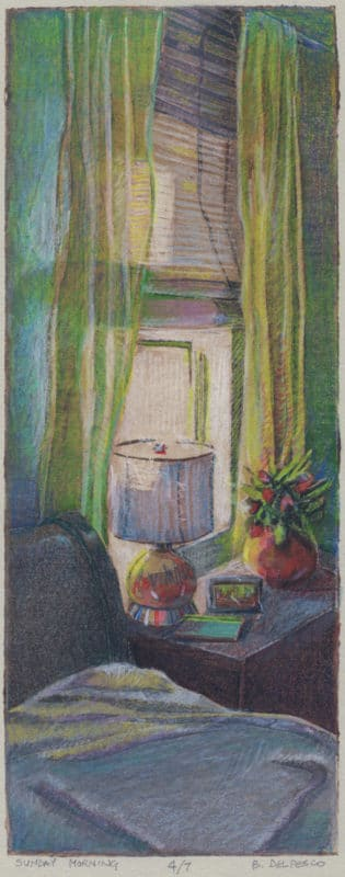 a collagraph print of a bedroom window