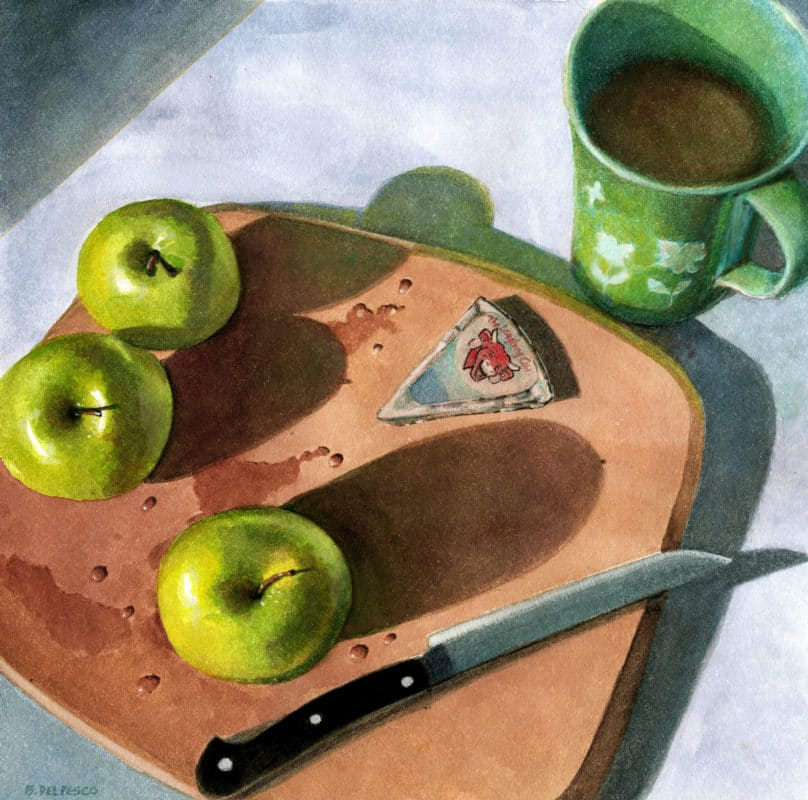 still life watercolor painting of a chopping block with freshly washed granny smith green apples, a knife, and a wedge of laughing cow cheese near a cup of coffee
