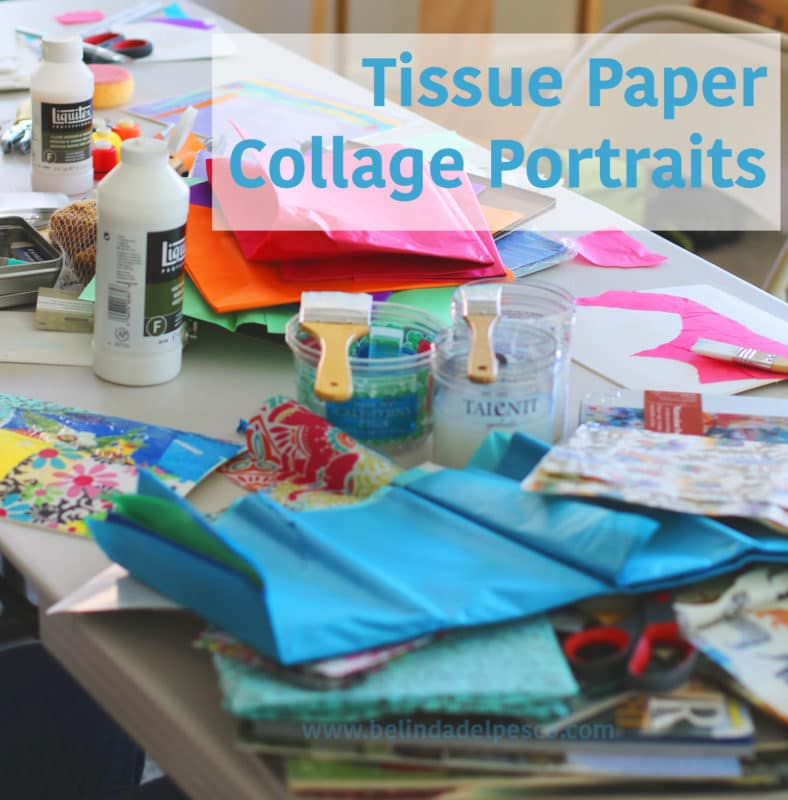 Tissue paper collage portraits are so fun, and creative collage ideas can be generated by printing assorted family photos on a home printer.