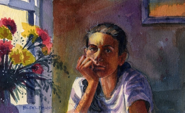 a watercolor portrait of a girl at a table next to a window and a bouquet of carnations