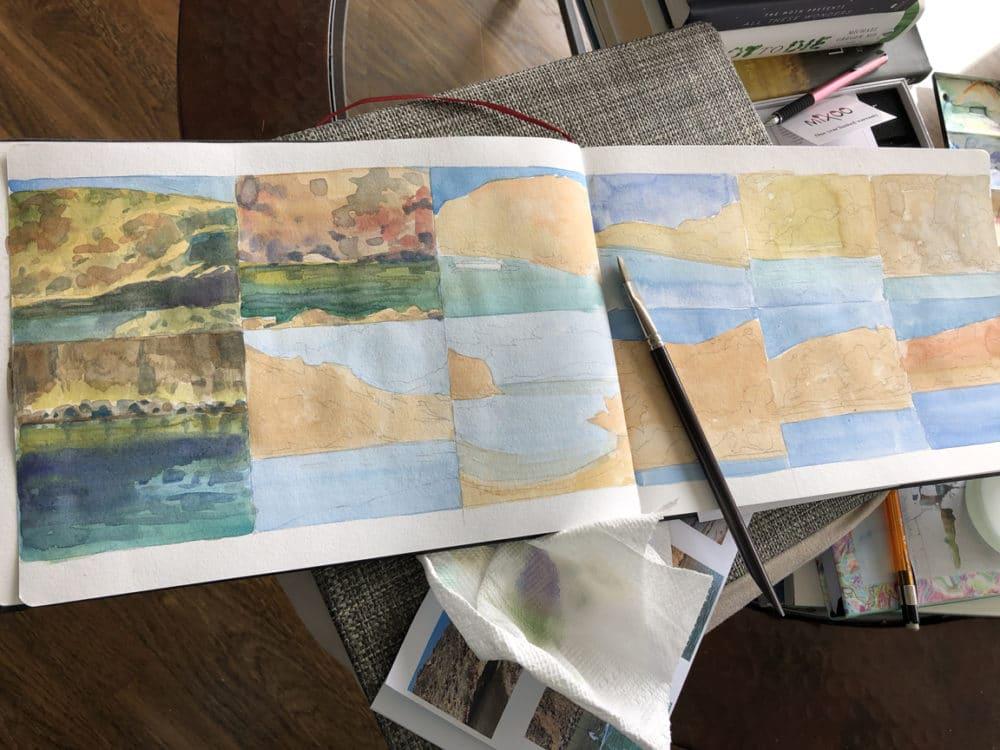 Making progress on Hahnemuhle Watercolor sketchbook practice painting