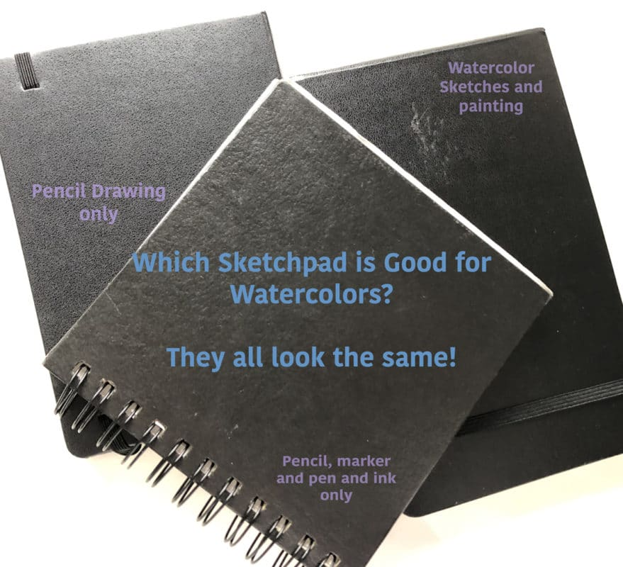 three black sketchbooks with no cover details, and a note to mark each one with the media they were made for so you don't paint with watercolor in a drawing pad, and vise versa.