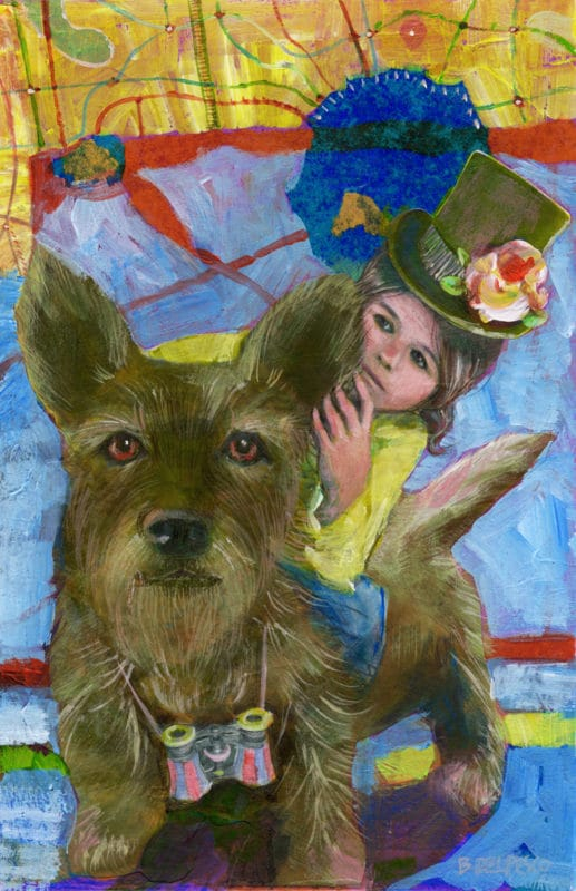 How to make a portrait collage with printer paper photos.... a little girl riding a large, wire haired terrier dog, with a map overhead, ready for an adventure