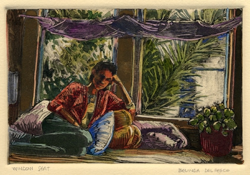 dark field monotype of a girl seated in front of a window, painted with watercolor