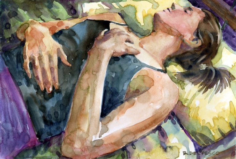 Watercolor of a young woman sleeping in a black camisole on yellow sheets
