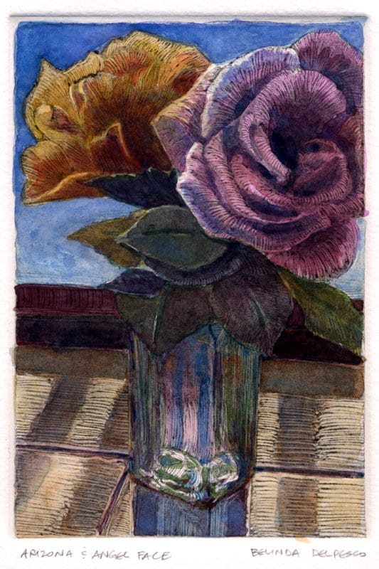 a dark field monotype ghost print with watercolor added, featuring two roses in a bud vase