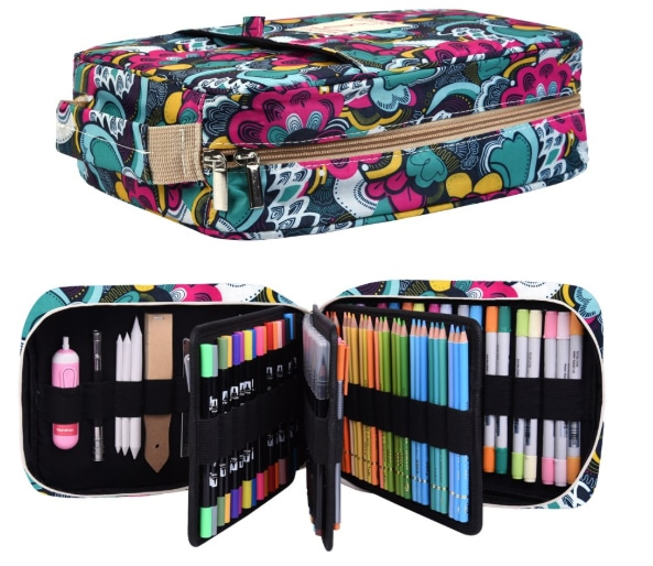 a zippered, cloth carry case for artist's pencils or pastels and markers that will hold 200 pencils