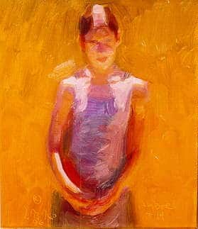an orange background and simple brush strokes to suggest the head and torso of a young girl in the sun