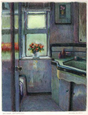 a monotype print of a bathroom with art deco tile, and an open window with a bouquet of flowers on the sill in the sunlight