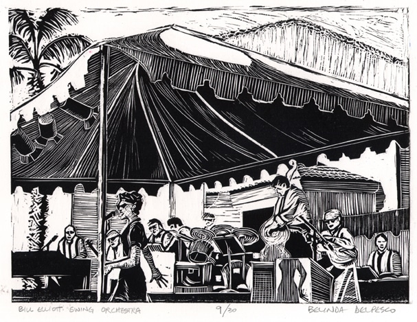 a linocut of the Bill Elliott Swing Orchestra, performing under a canopy at an outdoor concert.