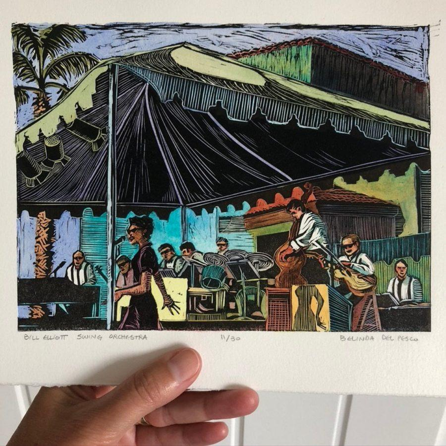 a linocut print painted with watercolor showing a swing band under a canopy