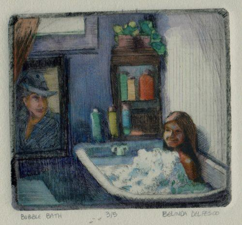 drypoint etching from plexiglass, of a girl in a bath tub