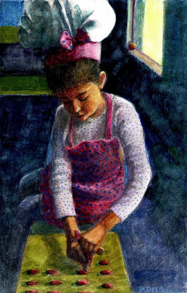 a watercolor sketch of a little girl in a pink chef's hat and apron, sitting on the counter, squeezing candy dough into a baking tray