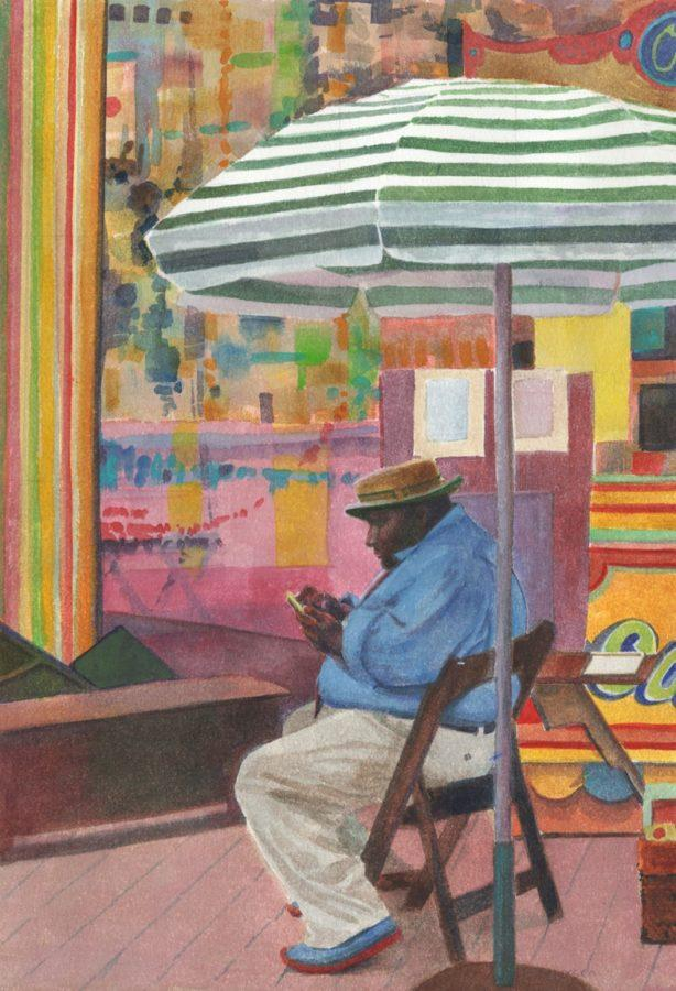 a watercolor portrait of a caricature artist in San Francisco, painted in watercolor