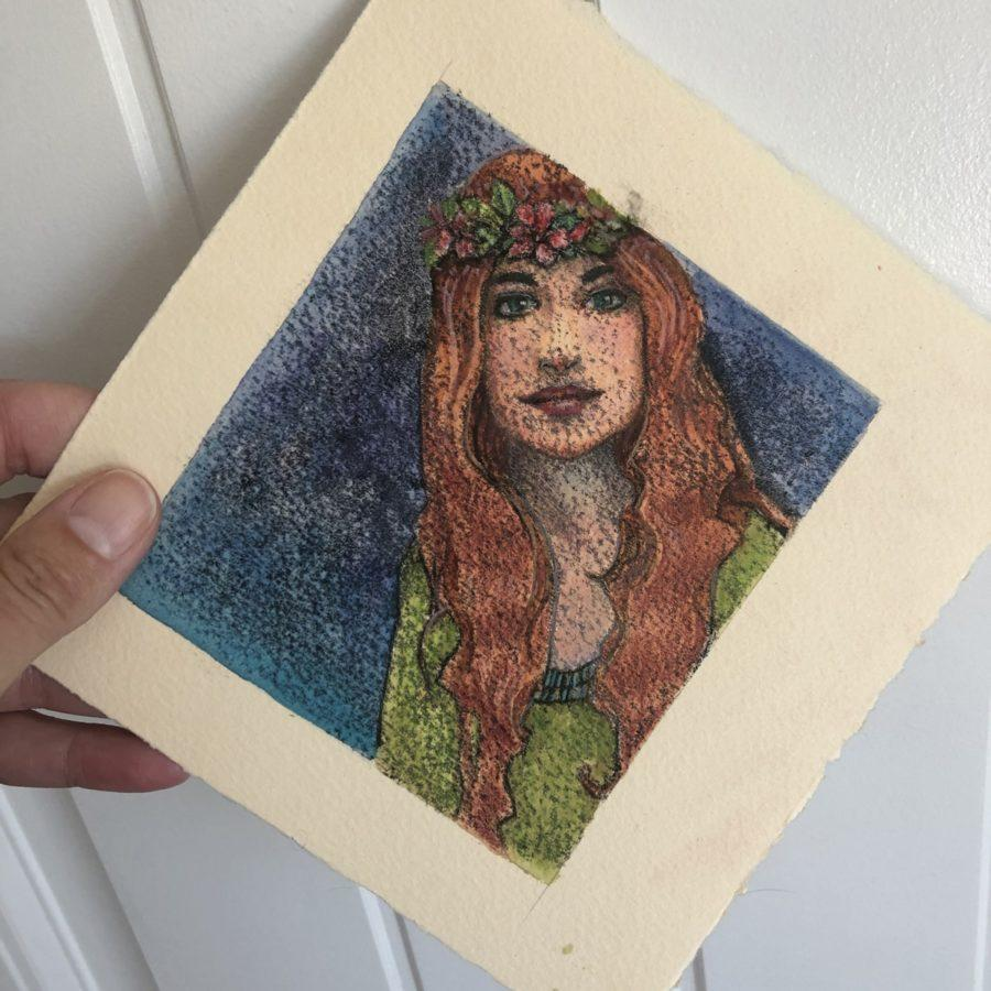 a trace monotype of a pre-raphaelite inspired woman with red hair waering a wreath of flowers on her head