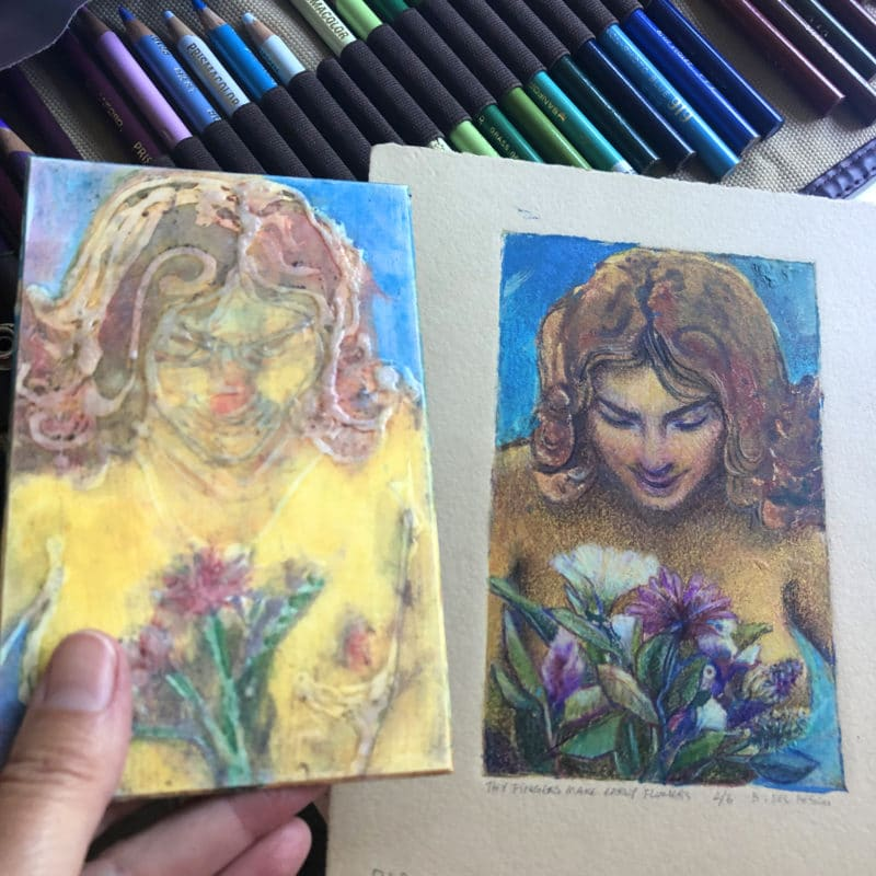 comparison between the glue collagraph plate and the finished print after colored pencil was added