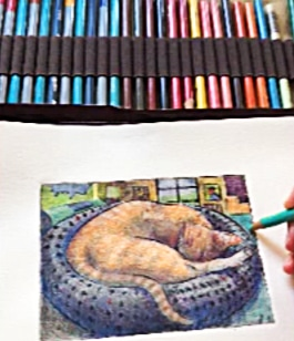 adding colored pencil to a collagraph of a sleeping cat