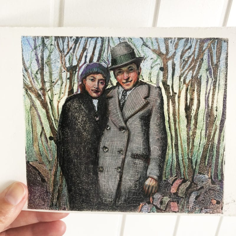 a dark field monotype with colored pencil of a vintage couple huddled together in the woods in coats and hats