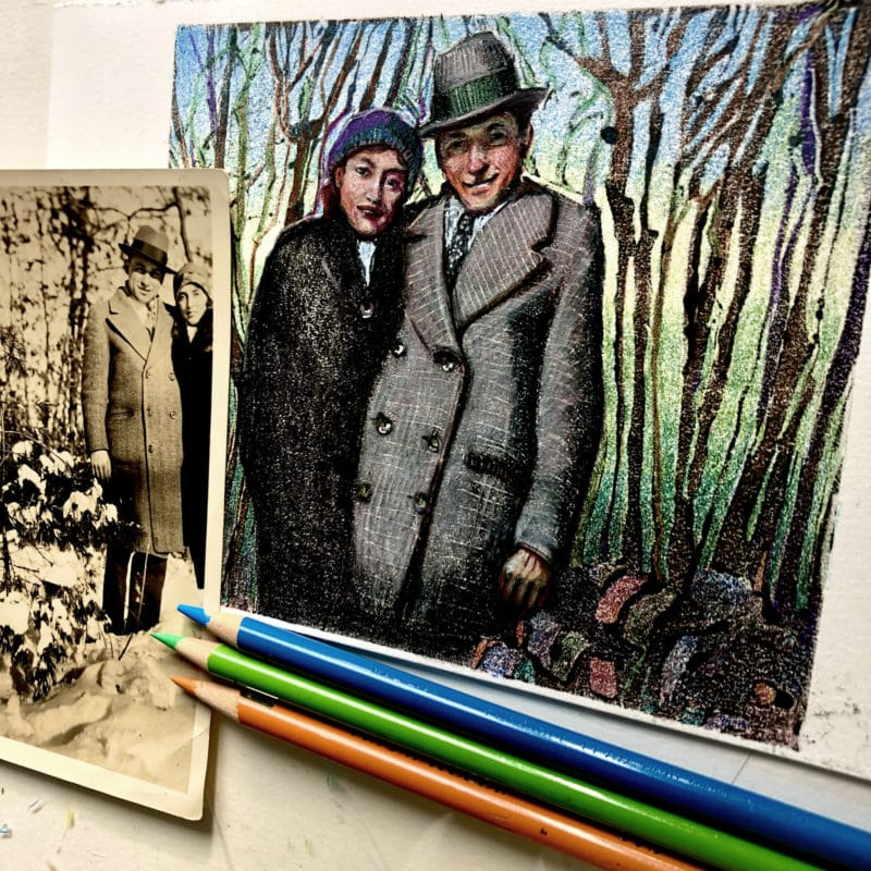 a dark field monotype with colored pencil next to the vintage photo of a couple that inspired it