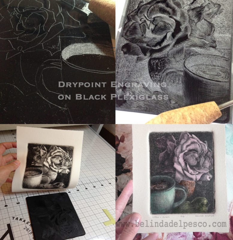 drypoint etching step by step on a sheet of black plexiglass