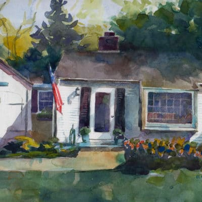 a watercolor of a small, single story, white clapboard house, with black shutters and an american flag hanging on the front, and a red car parked in the driveway in front of a single car garage with a small wreath on the door