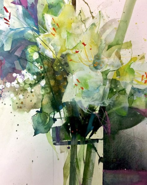 a floral watercolor still life painting by Elke Memmler