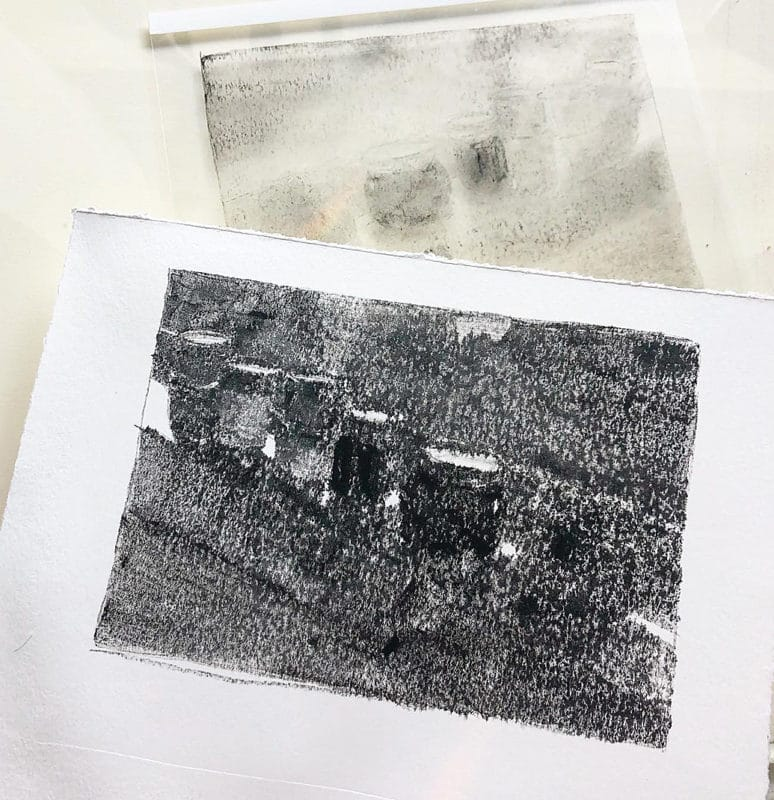 a dark field monotype print pulled from the inked plate it was created on, but showing a very fuzzy, lost edges image. The ink has blurred into the paper and list all the details