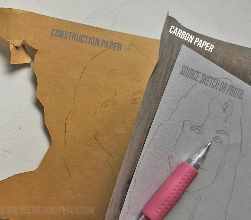 Cutting shapes from construction paper using carbon paper and a sketch or photo