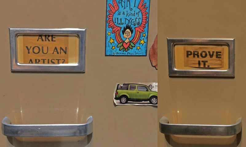 File Cabinet labels - one says Are You and Artist? And the other says Prove it.
