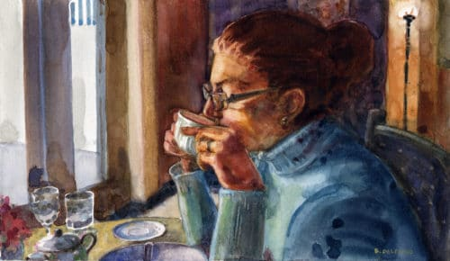 a woman in profile, painted in watercolor, sitting at a table in a cafe, sipping tea