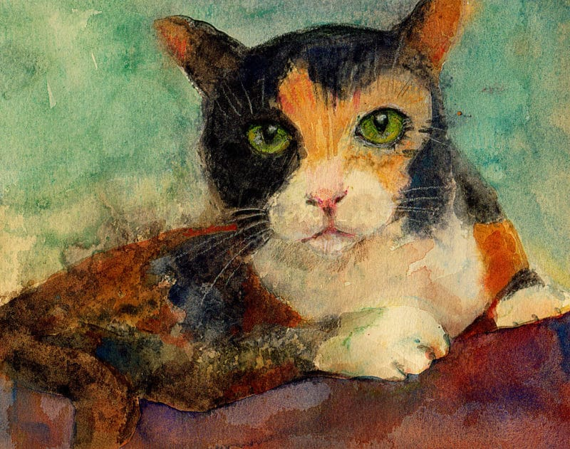 light field monotype of a calico cat with full color