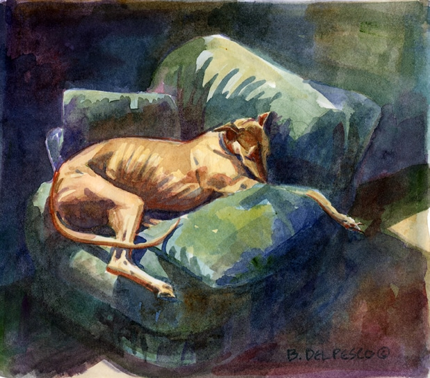 a greyhound lounging asleep on a big arm chair