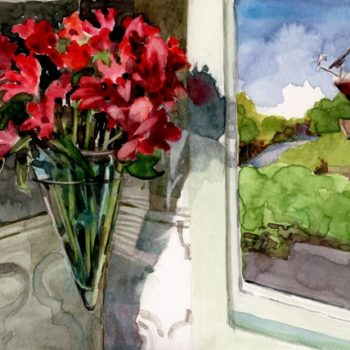 a still life in watercolor with a hanging vase of flowers, near a window looking towards a neighboring house