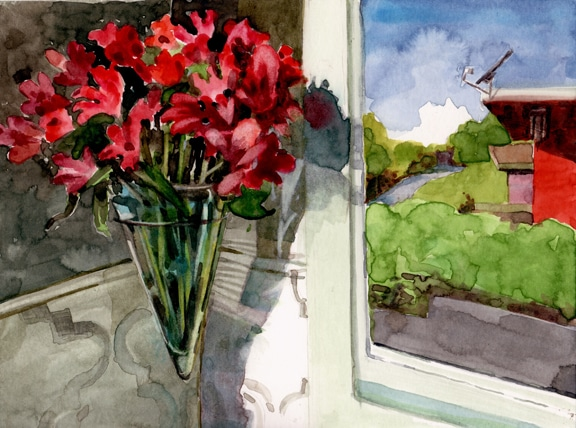 a watercolor of flowers by a window and part of a neighboring house by belinda delpesco