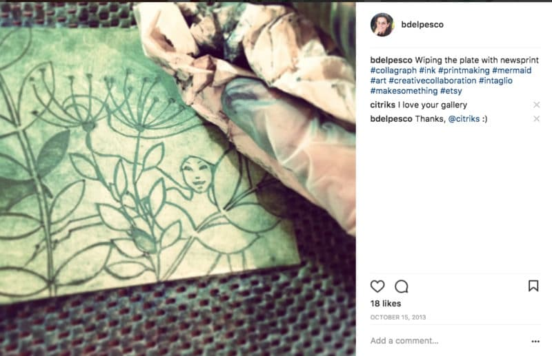 a collagraph plate being inked for printing on instagram with 18 likes and a comment