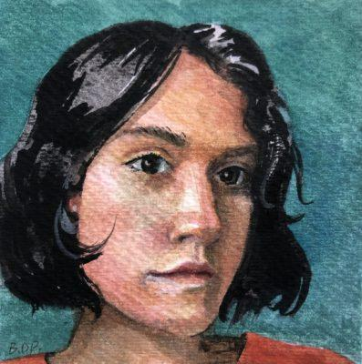 a tiny portrait in watercolor of a girl's face, with chin length black hair, looking off to the distance over our shoulder
