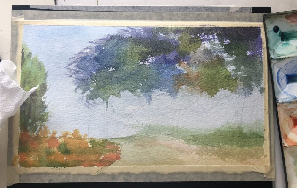 first-washes-of-a-watercolor-landscape-painting