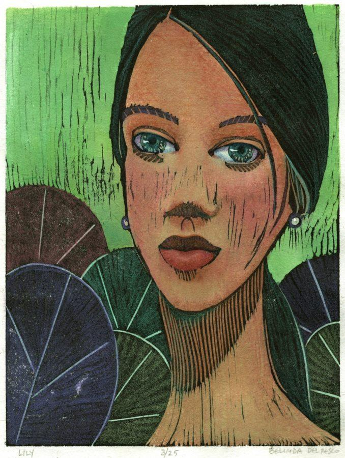 a color woodcut portrait of a woman's face among lily pads