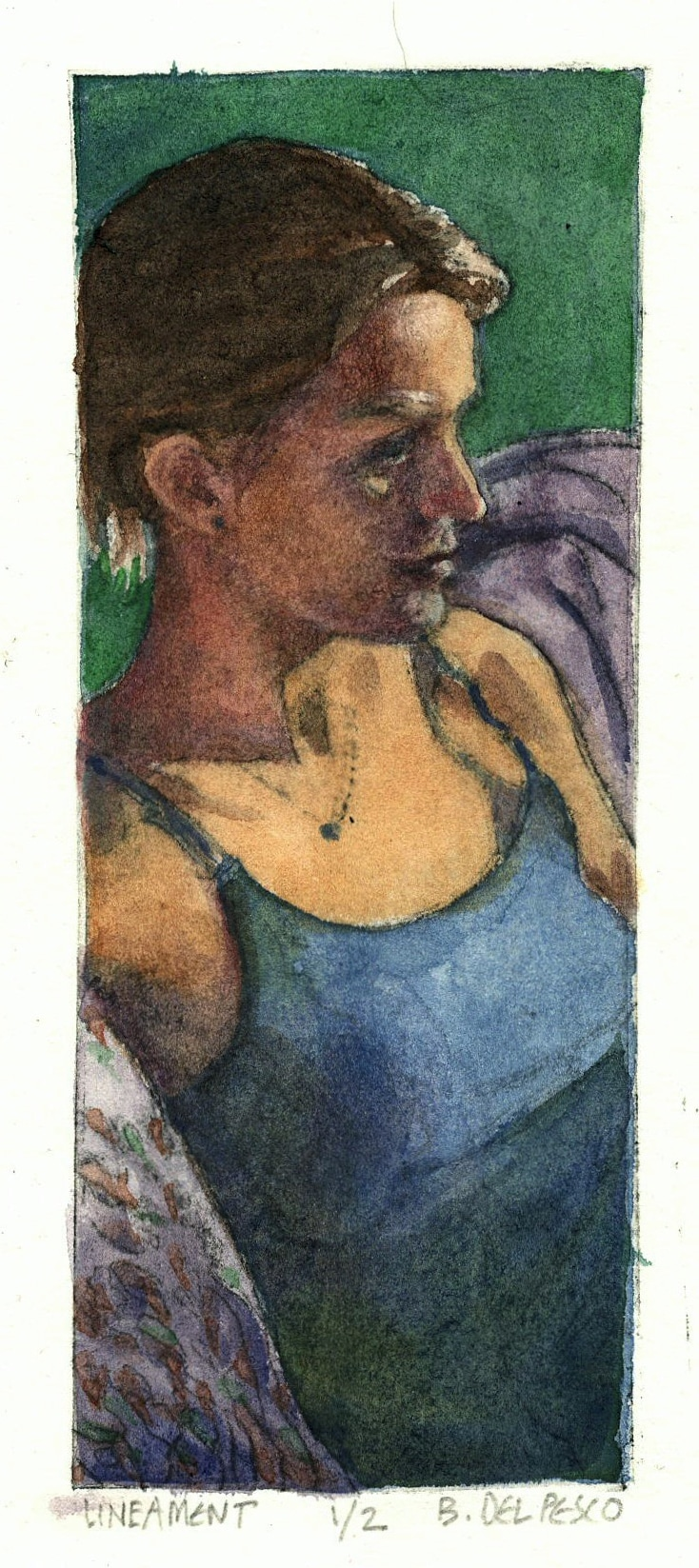 drypoint etching portrait of a woman in profile