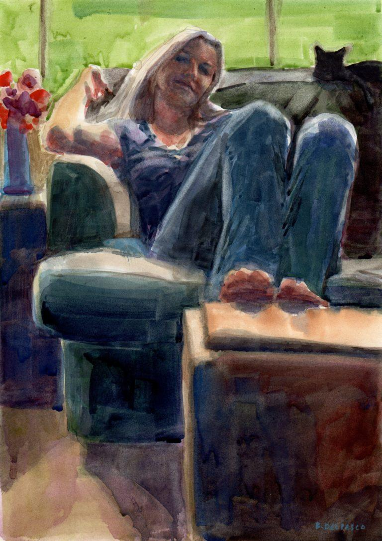a watercolor painting by Belinda del pesco of a woman sitting on a couch with bare feet on a coffee table and a cat perched on the back of the couch behind her.